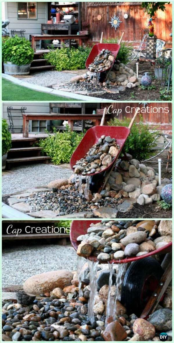 Fun and Fancy Free Wheelbarrow Waterfall #diy #waterfeature #backyard #garden #decorhomeideas