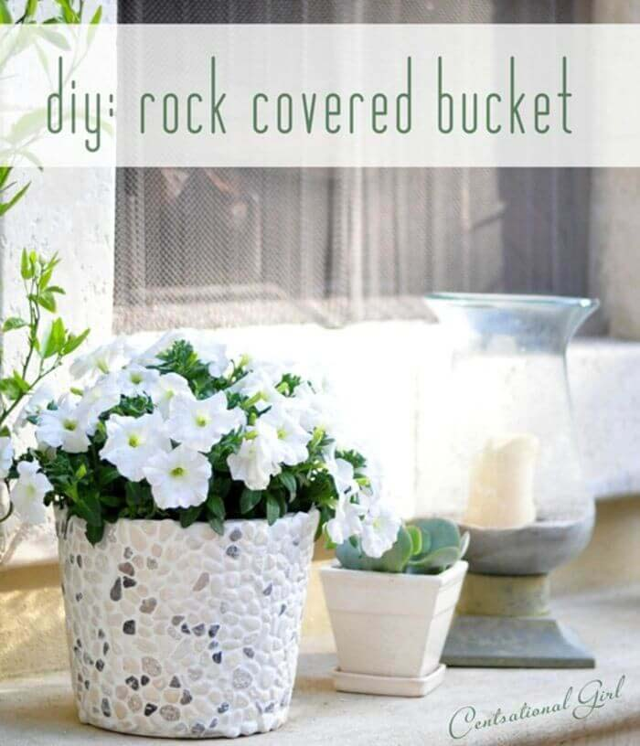 Give a Pail the Pebbled Look #diy #flowerpot #garden #flower #decorhomeideas