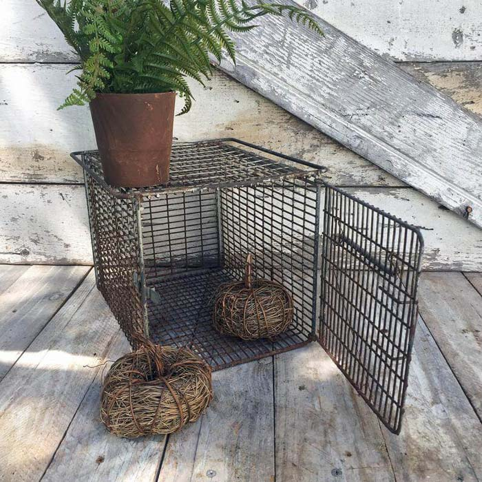 Great Wire Plant Display with Upcycled Animal Cage #diy #garden #decor #countryside #decorhomeideas