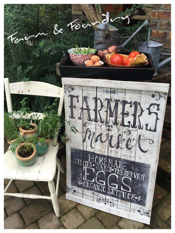 Hand Painted Farmers Market Pallet Sign #diy #pallet #garden #decorhomeideas