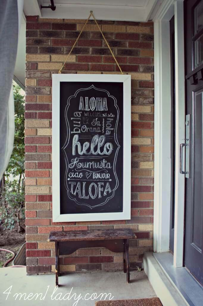 Hanging Chalkboard Art from Repurposed Wood #veranda #decor #rustic #decorhomeideas