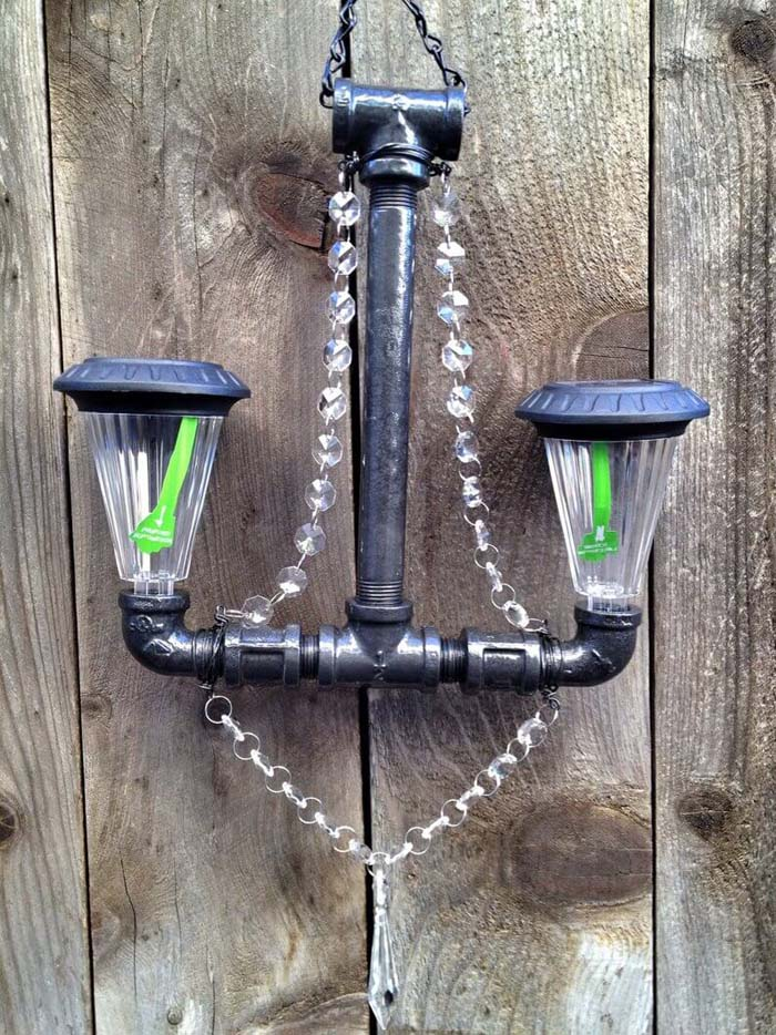 Hard Meets Soft Industrial Chandelier #diy #solar #lights #solarlight #garden #decorhomeideas