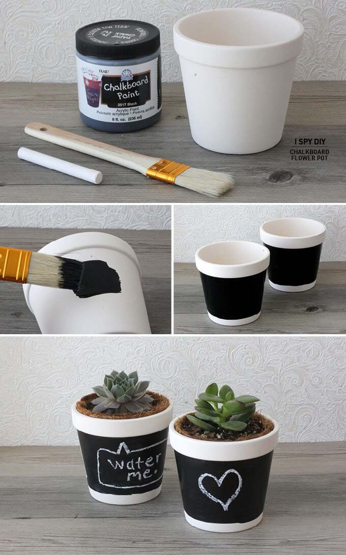 Help Your Succulents Talk with Chalkboard Paint #diy #flowerpot #garden #flower #decorhomeideas
