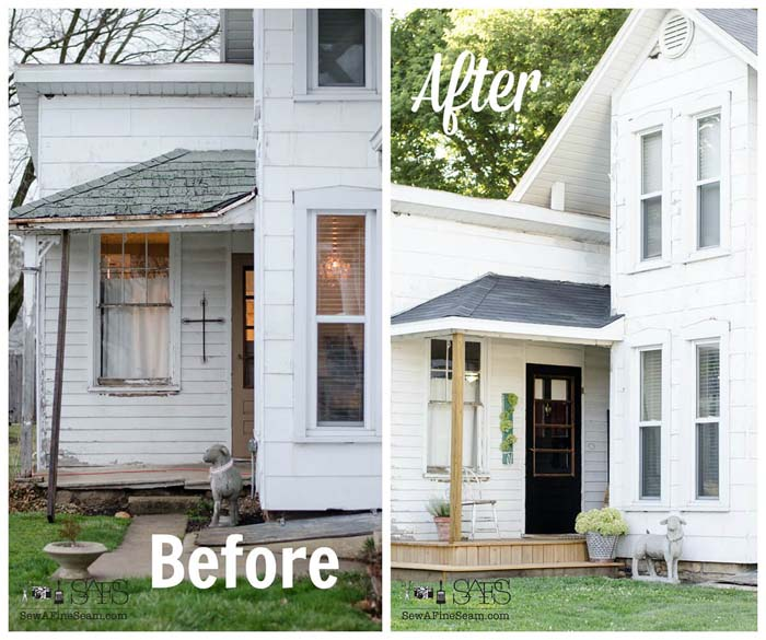 Instant Back Porch Upgrade Project #diy #porch #makeover #decorhomeideas