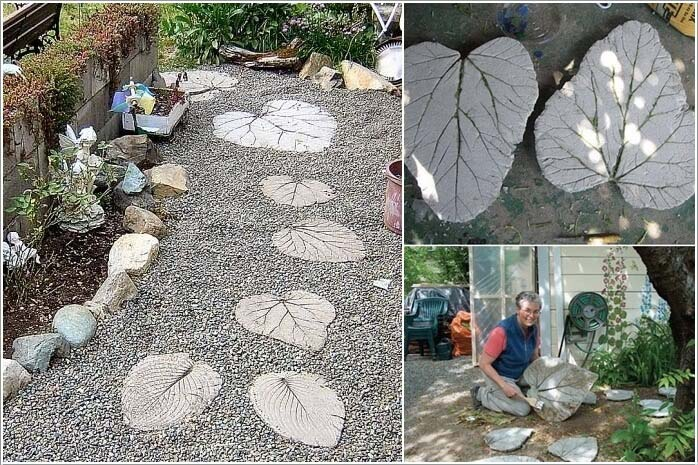 Leaf Inspired Stepping Stones #steppingstones #garden #backyard #pathway #decorhomeideas