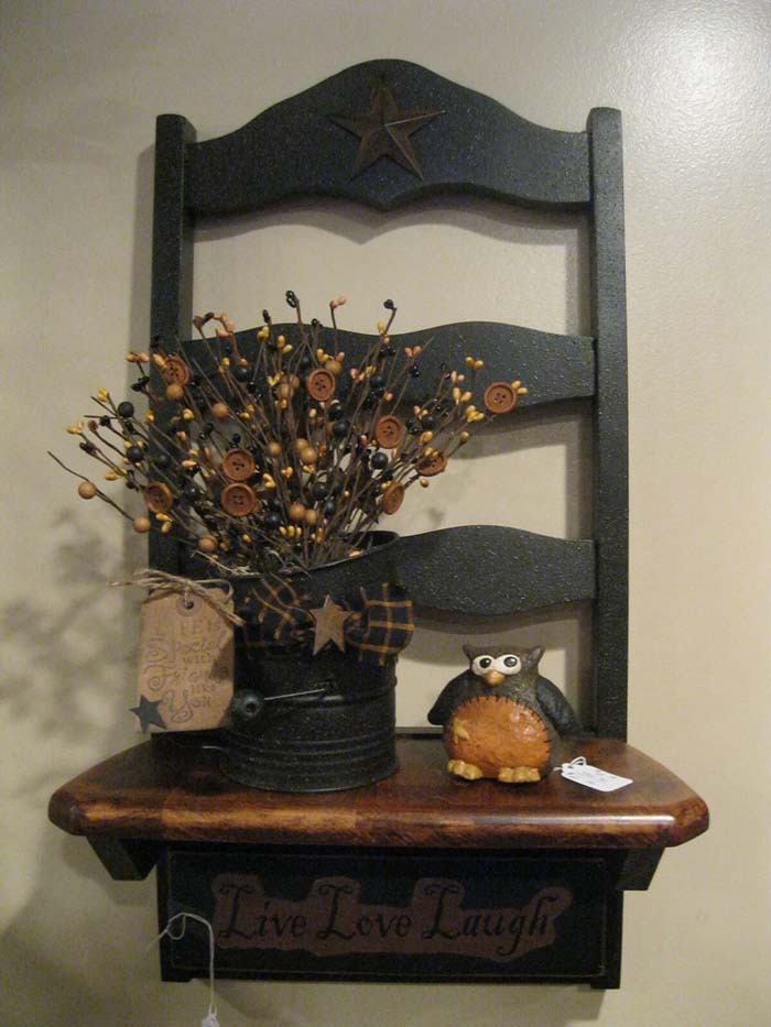 Mantle with Flowers and an Owl #chair #diy #repurposed #decorhomeideas