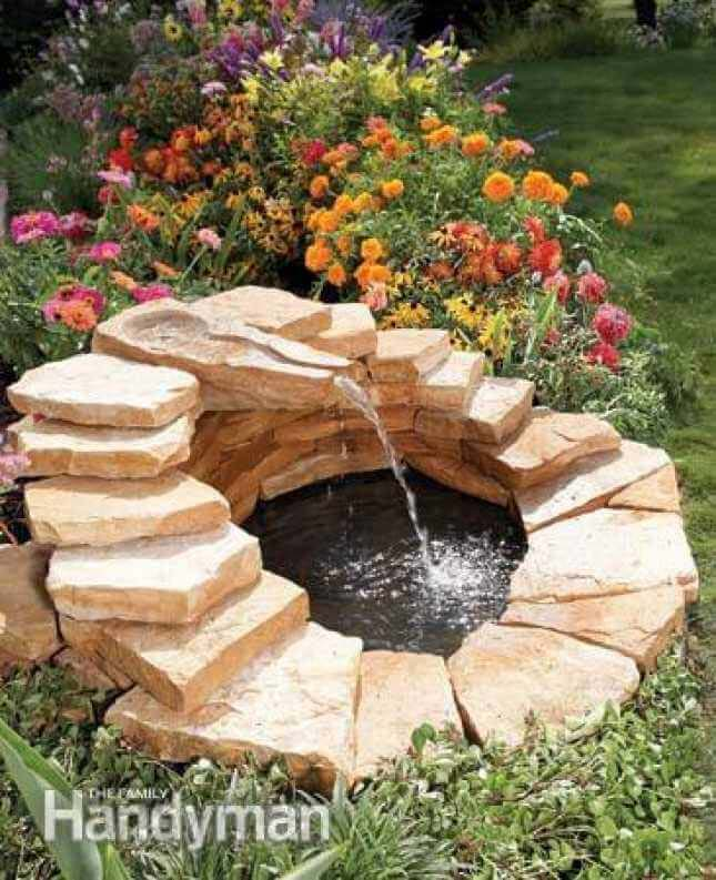 Mini Oasis with Waterfall Water Feature #diy #waterfeature #backyard #garden #decorhomeideas