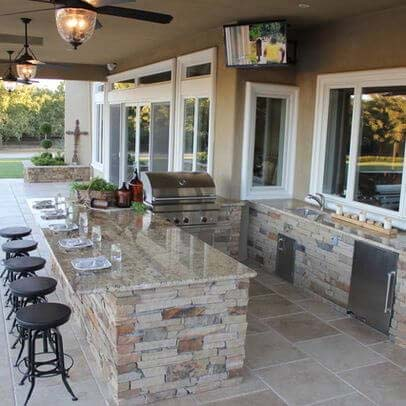 Natural Stone Patio Kitchen with Bar #outdoorkitchen #garden #ktichen #decorhomeideas