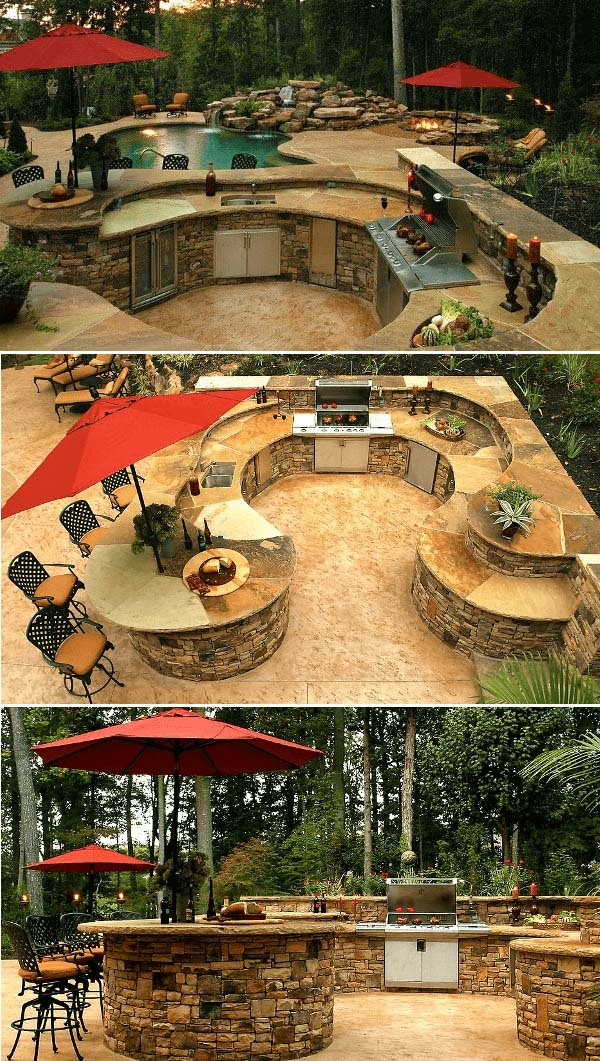 Outdoor Kitchen With Pool Bar #outdoorkitchen #garden #ktichen #decorhomeideas