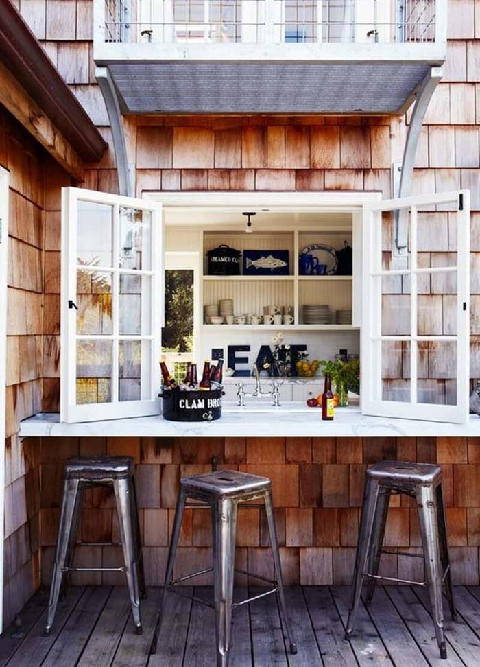 Pass Through Kitchen Window Outdoor Bar #outdoorkitchen #garden #ktichen #decorhomeideas