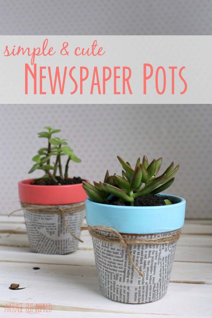 Pastel and Newsprint Succulent Pots #diy #flowerpot #garden #flower #decorhomeideas