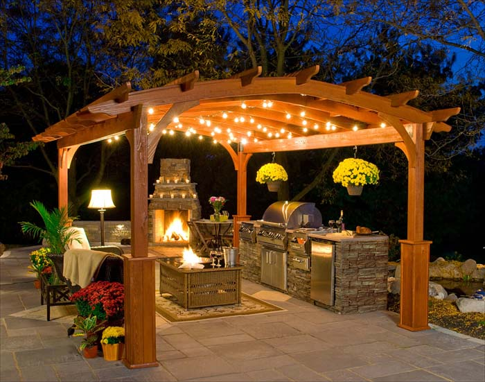 Patio Kitchen With Pergola #outdoorkitchen #garden #ktichen #decorhomeideas
