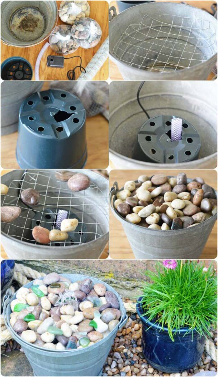 Pretty Little Pail Fountain #diy #waterfeature #backyard #garden #decorhomeideas
