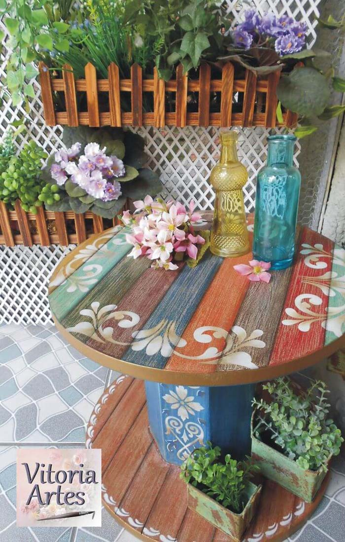 Repurposed Wooden Cable Spool Table #porch #summer #decor #decorhomeideas