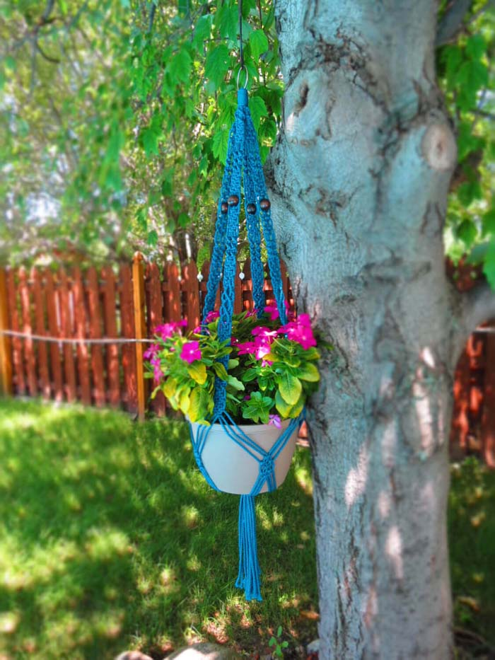 Retro Macrame Hanging Flower Pot #diy #planter #flower #hanging #garden #decorhomeideas