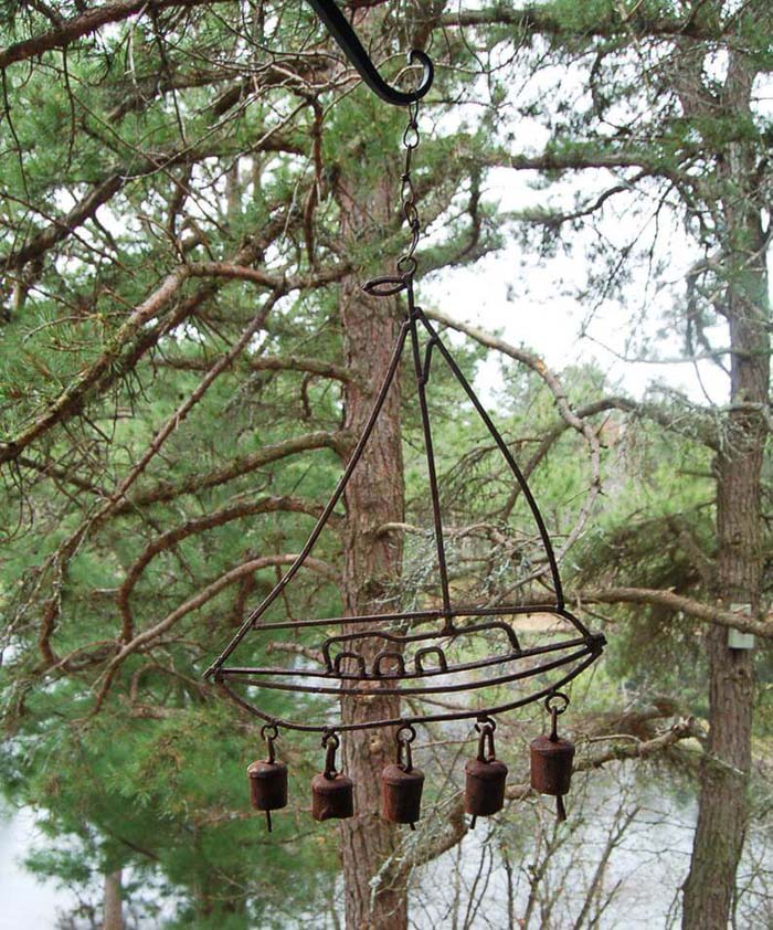 Rustic Sailboat with Garden Bells #diy #garden #decor #countryside #decorhomeideas