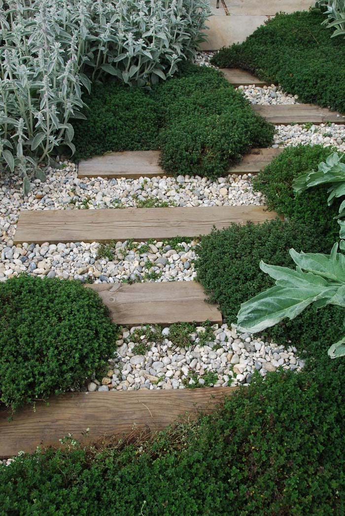 Rustic Wood And Stone Accented With Thyme #diy #pathway #walkway #garden #decorhomeideas