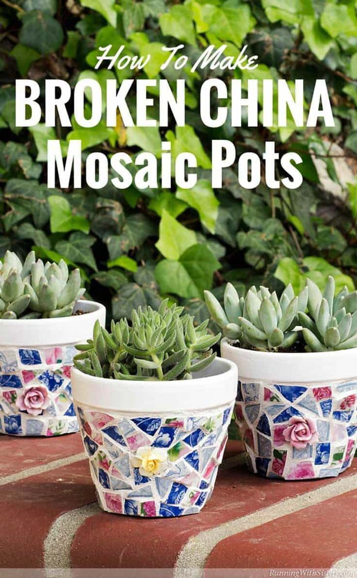 Shabby Chic China Shard Mosaics #diy #flowerpot #garden #flower #decorhomeideas