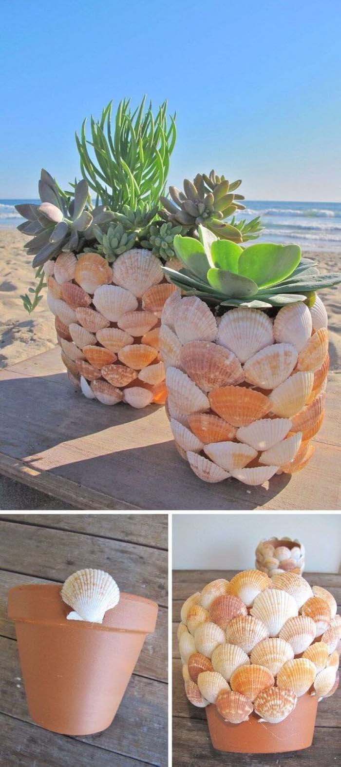 Shell Covered Seaside Plant Displays #diy #flowerpot #garden #flower #decorhomeideas