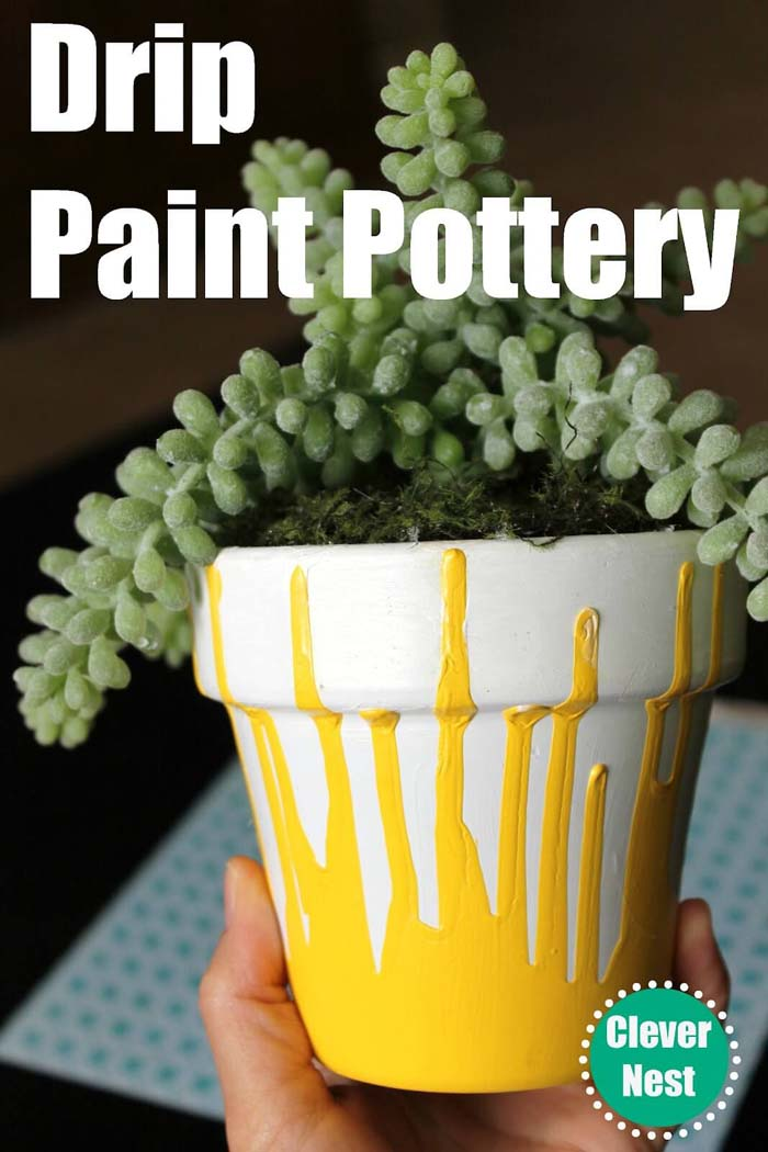 Simple Drip Paint Pottery Hack #diy #flowerpot #garden #flower #decorhomeideas