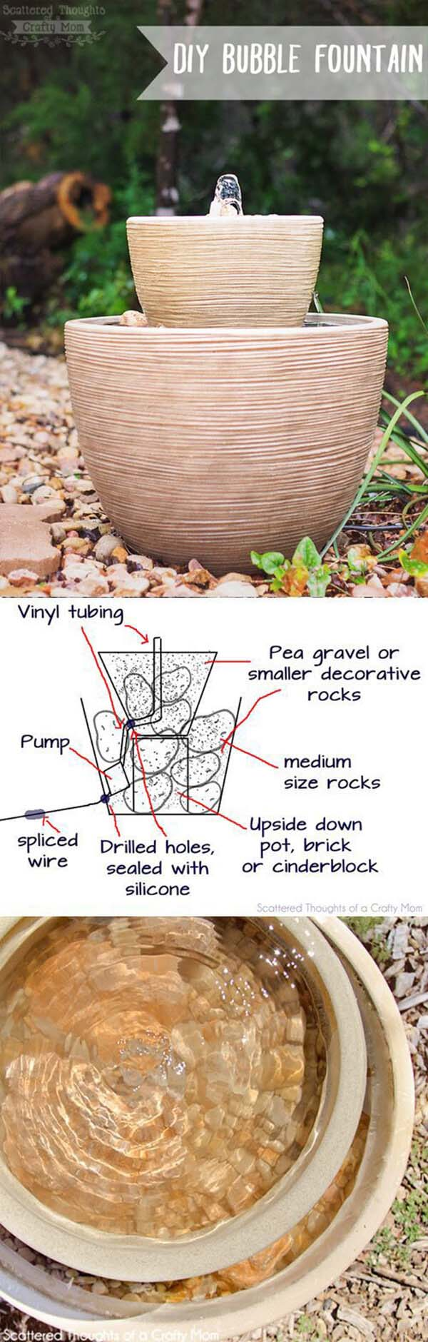 Simple Potted Bubble Fountain #diy #waterfeature #backyard #garden #decorhomeideas