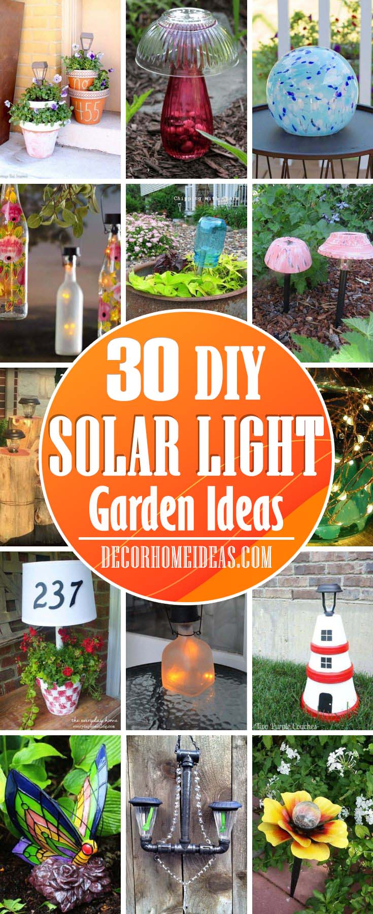 Solar Light Garden Ideas. Add more light to your garden or backyard with these creative DIY solar light ideas that are easy and cheap to do. #diy #solar #light #solarlight #garden #decorhomeideas