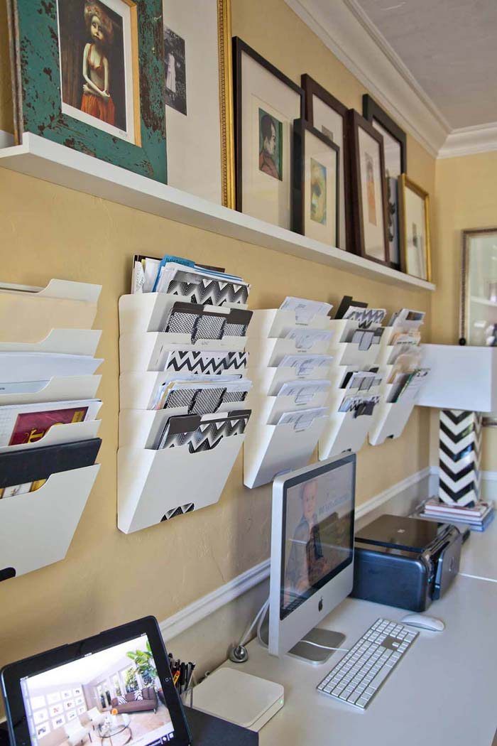 Space Saving Wall Mounted Filing System #homeoffice #organization #decorhomeideas