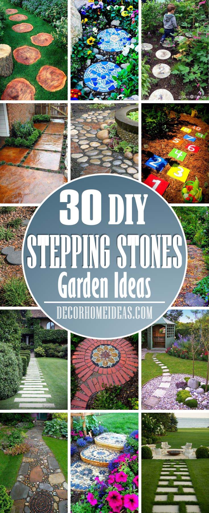 Stepping Stones Garden Ideas. Make a beautiful garden or backyard pathway with rocks and stones. DIY walkway with stepping stones or pebbles. #diy #stones #rocks #walkway #garden #decorhomeideas