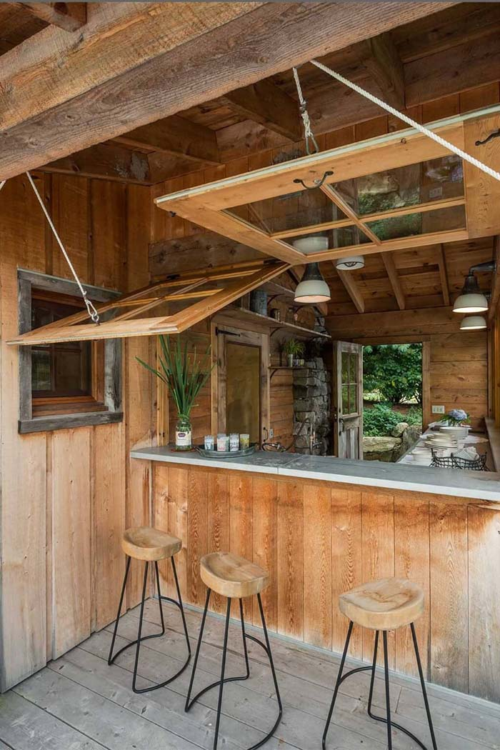 Stylish Outdoor Bar with Retractable Windows #outdoorkitchen #garden #ktichen #decorhomeideas