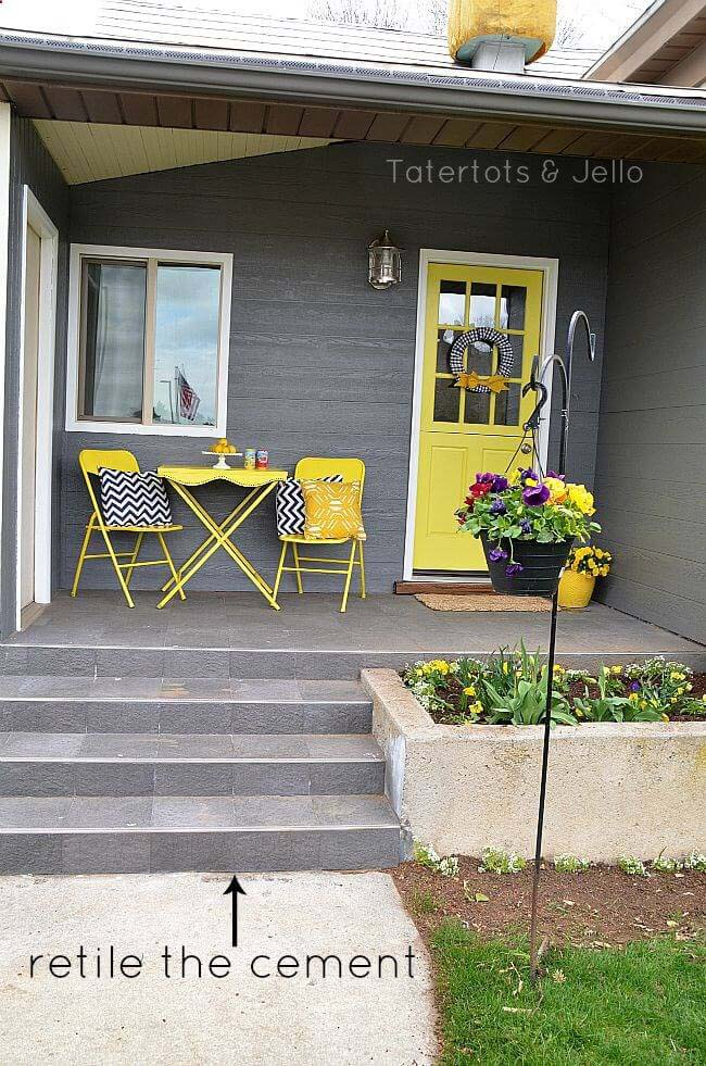 Tiled Cement and Sunny Day Accents #diy #porch #makeover #decorhomeideas