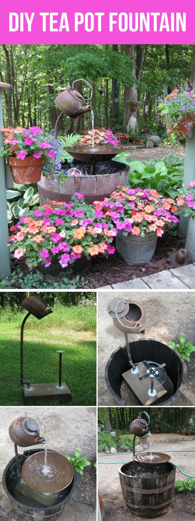 Tippy Tea Pot and Wooden Barrel Fountain #diy #waterfeature #backyard #garden #decorhomeideas
