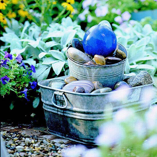 Treasury of Rocks and Bobbles Stacked Pail Fountain #diy #waterfeature #backyard #garden #decorhomeideas