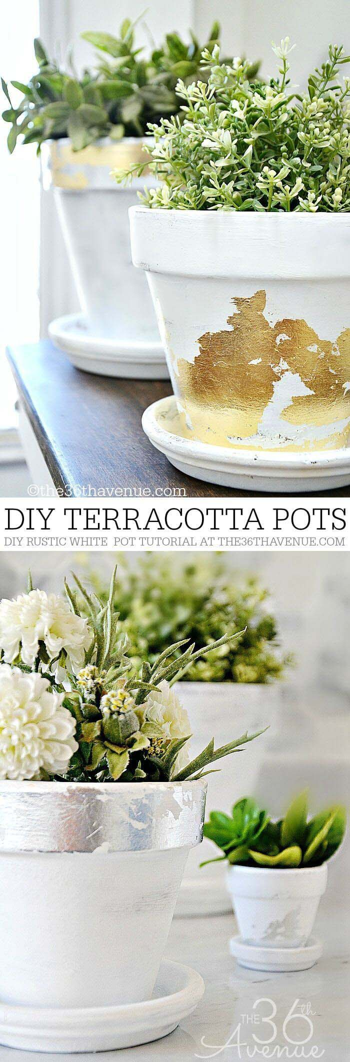Two Ways to Dress Up Classic Clay #diy #flowerpot #garden #flower #decorhomeideas