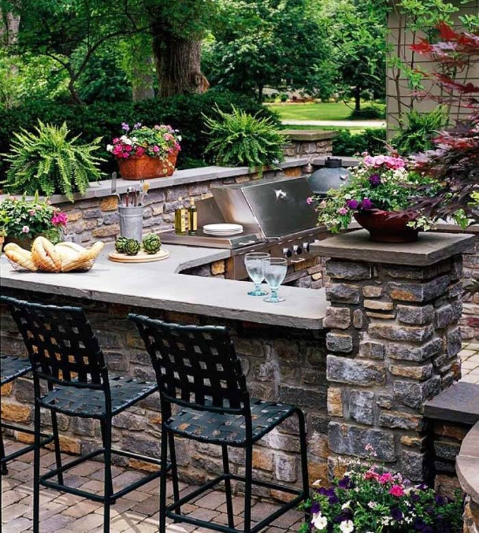 U-shaped Natural Stone Outdoor Bar #outdoorkitchen #garden #ktichen #decorhomeideas