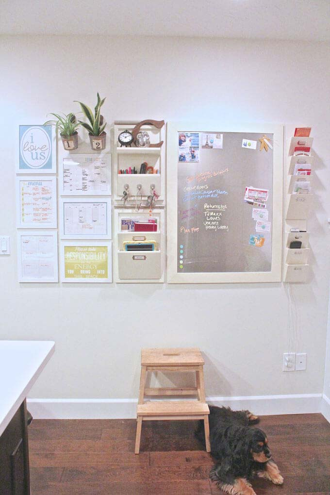 Wall-Mounted Command Center with Magnetic Board #homeoffice #organization #decorhomeideas