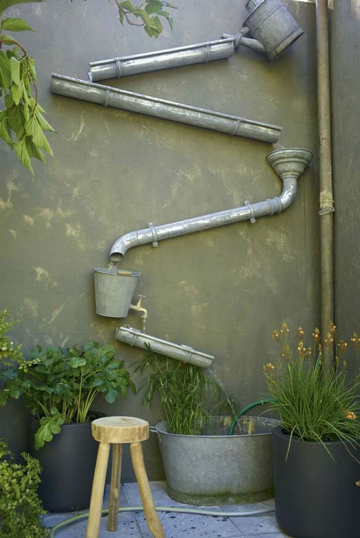 Water Tumbling Down the Wall Fun Feature #diy #waterfeature #backyard #garden #decorhomeideas