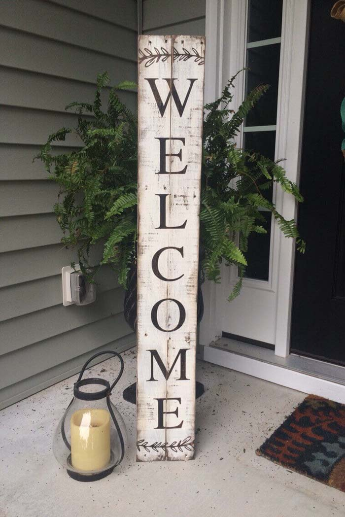 Wooden Entryway Welcome Sign #diy #porch #sign #decorhomeideas