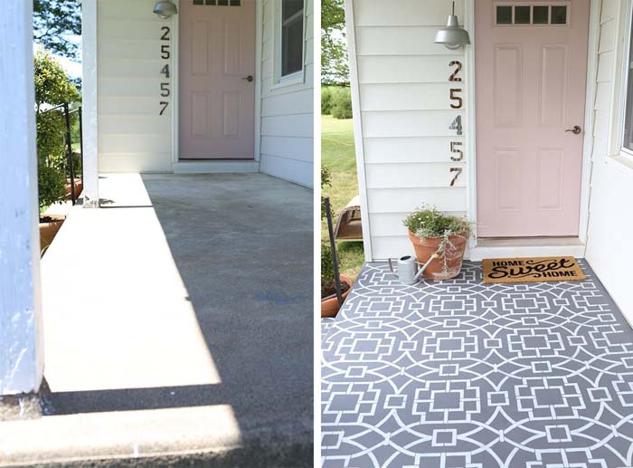 Wow Them with Custom Stenciled Floor Graphics #diy #porch #makeover #decorhomeideas