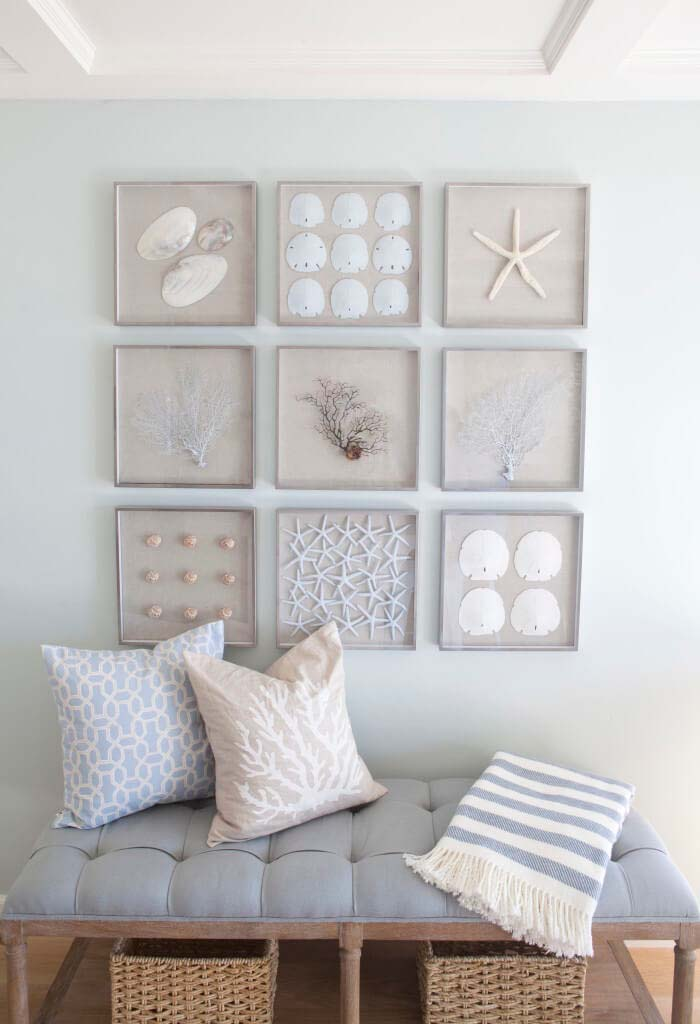 Beached-Themed Mosaic Full of Shells and Starfish #beach #coastal #decoration #decorhomeideas