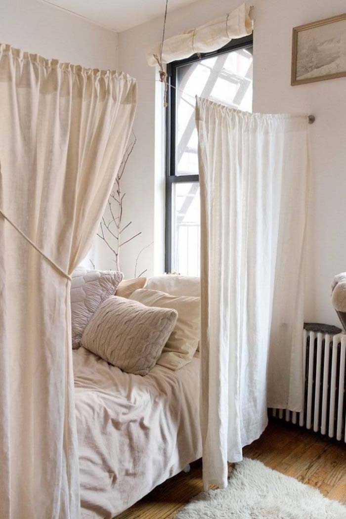 A Bed Enclosed by Curtains #bedroom #small #design #decorhomeideas