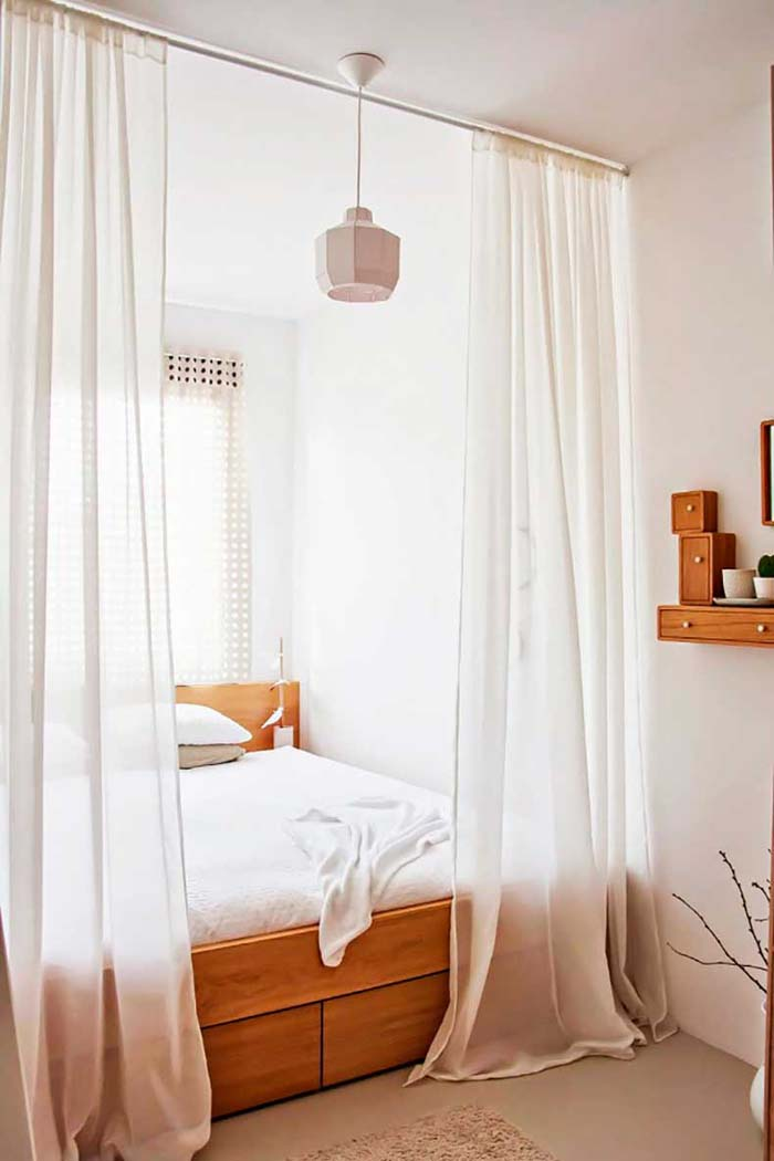 Bed with Storage Enclosed by Curtains #bedroom #small #design #decorhomeideas