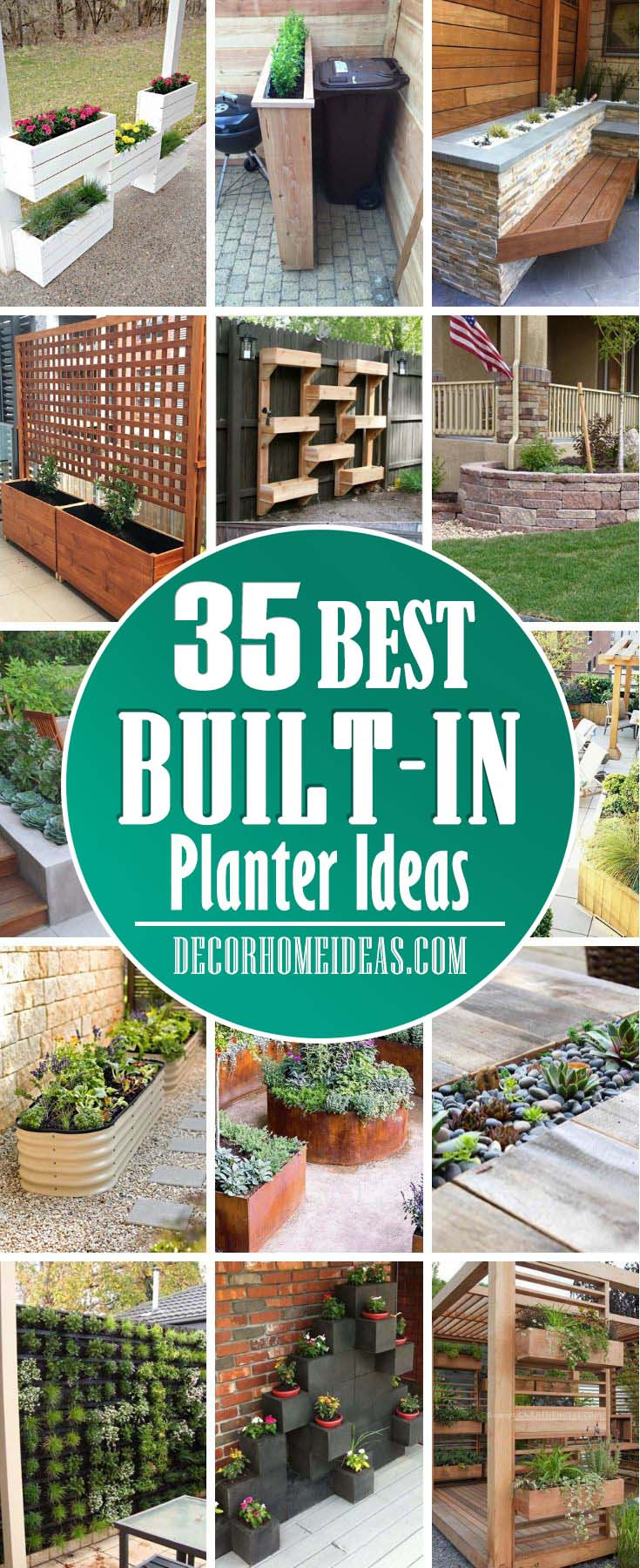 Best Built In Planter Ideas. Save space and add charm to your garden, patio or backyard with these beautiful built-in planter ideas. #diy #planter #decorhomeideas