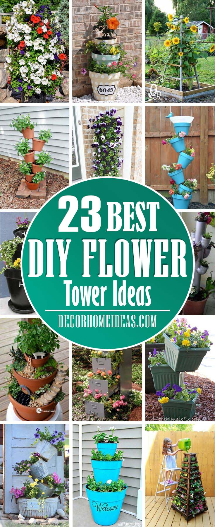 Best DIY Flower Tower Ideas. Spruce up your garden with these flower towers that are easy to do. #diy #garden #flowertower #decorhomeideas