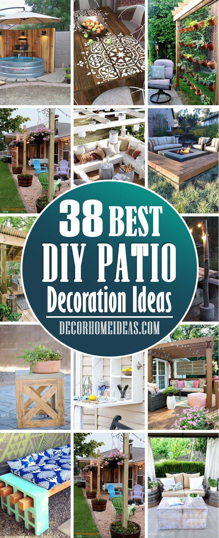 Best DIY Patio Decorations Ideas. Decorate your patio with style, add fire pit, pergola, cushions or pillows and make it the perfect place to relax all year long. #diy #patio #decorations #decorhomeideas