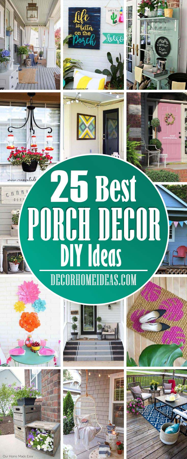Best DIY Porch Decor Ideas. Spruce up your front porch with these beautiful decor ideas. Swing bed, planter, rug or flower pot could add more more color and texture. #diy #porch #decor #decorhomeideas