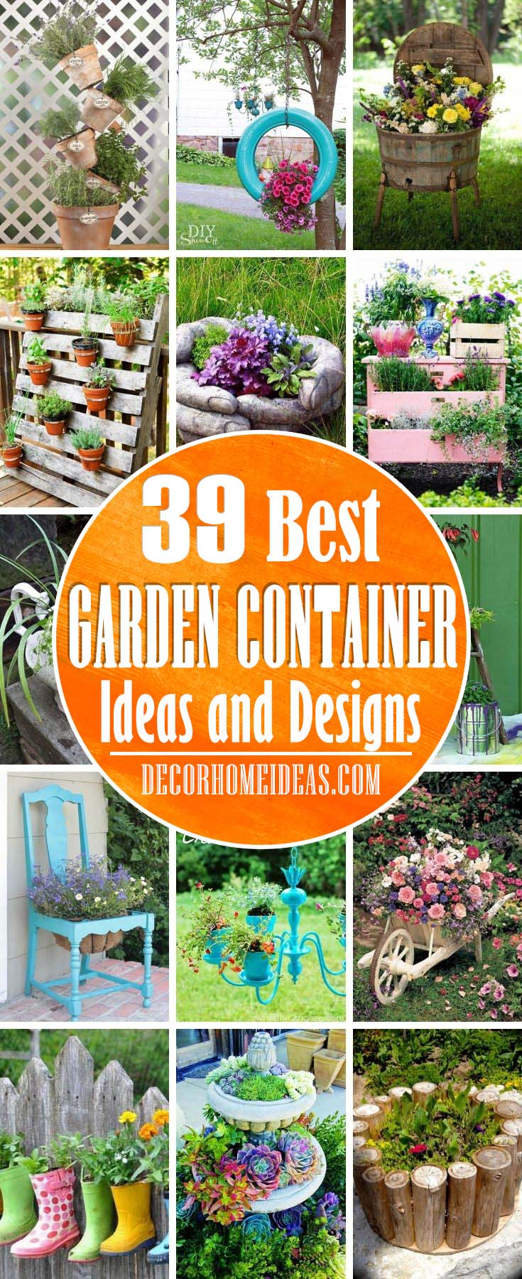 Best Garden Container Ideas. Enjoy nonstop color all season long with these container gardening ideas and design suggestions. Beautiful pots to adorn porches and patios. #decorhomeideas