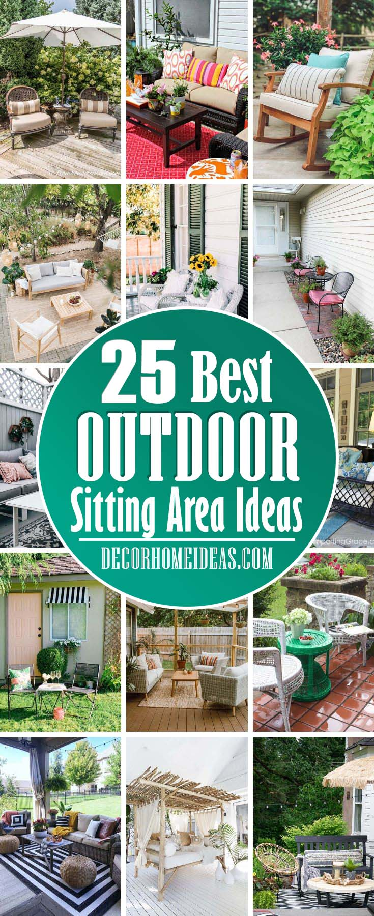 Best Outdoor Sitting Area Ideas. Whether on the backyard, front porch, deck, or patio, you can make use of your home's outdoor space. With the beauty of nature and ambient lighting, these areas make for the perfect gathering place.  #garden #outdoor #sitting #area #decorhomeideas