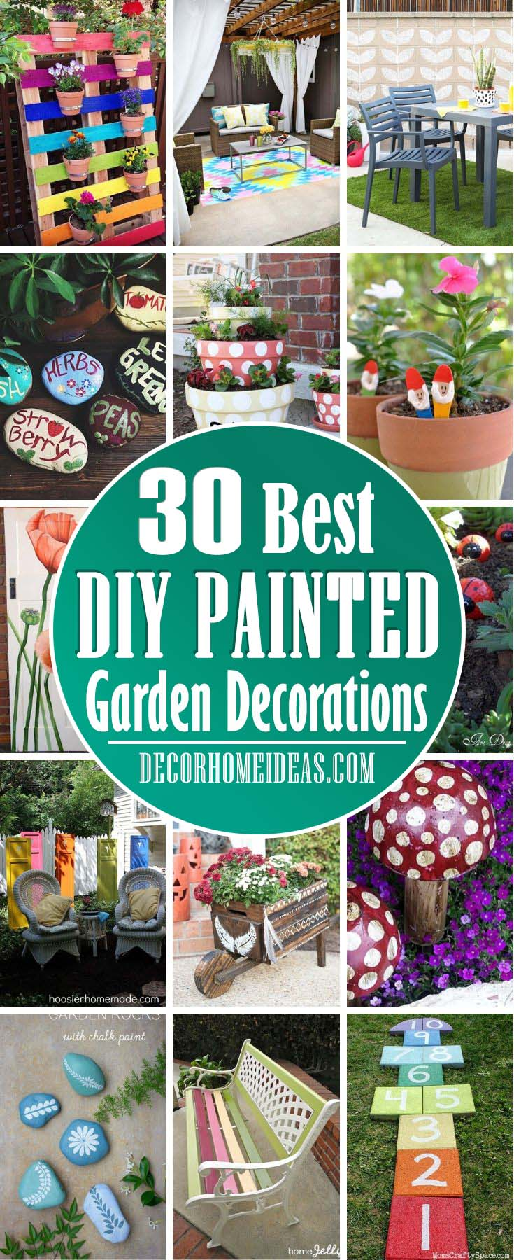 Best Painted Garden Decorations. Add some color to your garden furniture, planters and patio to make them more vibrant and add extra texture. #diy #paint #garden #decorhomeideas