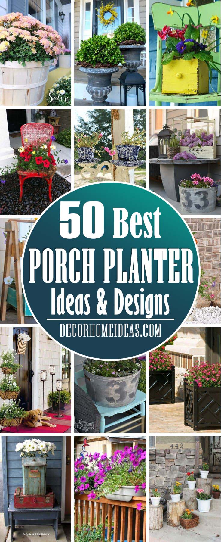 Best Porch Planter Ideas. Creative DIY planter ideas to spruce up your front porch and add instant curb appeal. #diy #planter #porch #decorhomeideas