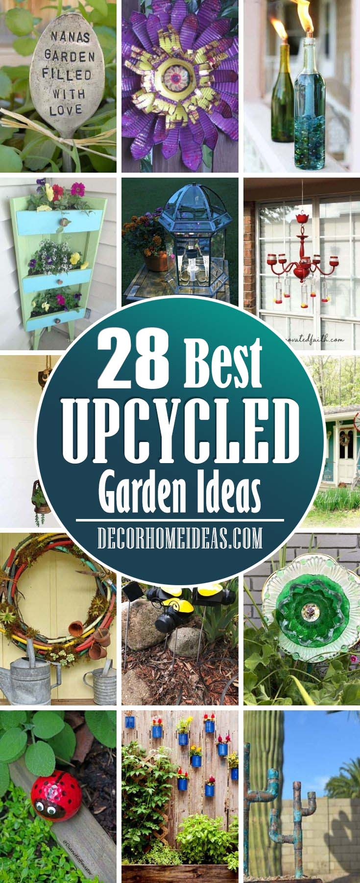 Best Upcycled Garden Ideas. Start your gardening goals with these DIY Upcycled Garden Projects and repurpose old and unused objects into something useful in the garden! #decorhomeideas
